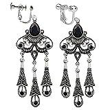 menoa Clip On Earrings Vintage Waterdrop Tassel Earrings Dangle Rhinestone Silver Tone Plated Proms Gift
