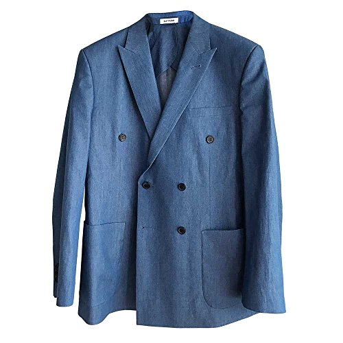 SUIT MAKE Denim Double Breasted Jacket (Large)