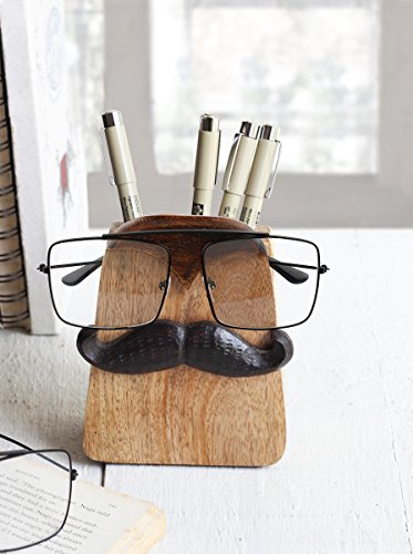 Spectacle Holder Wooden Eyeglass Stand Moustache Shaped handmade Display Optical Glasses Accessories with Pen Pencil Stand