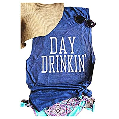 MK Shop Limited Women's Day Drinkin' Casual Tank Funny Letters Print Vest T-Shirt at Women's Clothing store