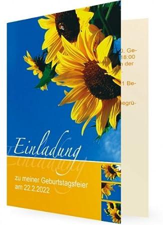 10 X Geburtstags Einladungskarte Selbst Gestalten, Sonnenblumen Vor Himmel    Flache Karte   Erstellen
