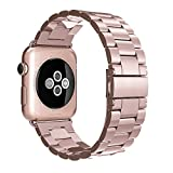 Simpeak Apple Watch 42mm Replacement Band, Stainless Steel, Rose Gold