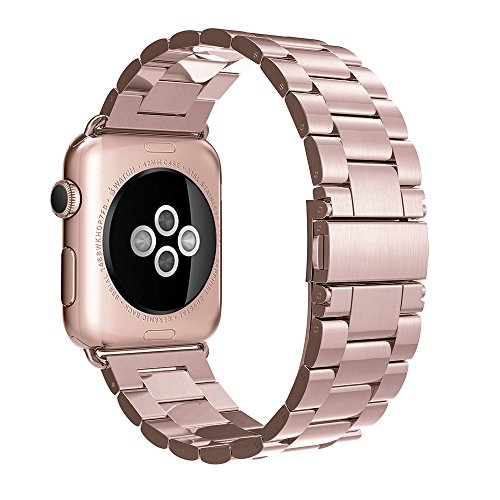 Simpeak iWatch Band 42mm Stainless Steel Replacement Strap for Apple Watch - Rose Gold