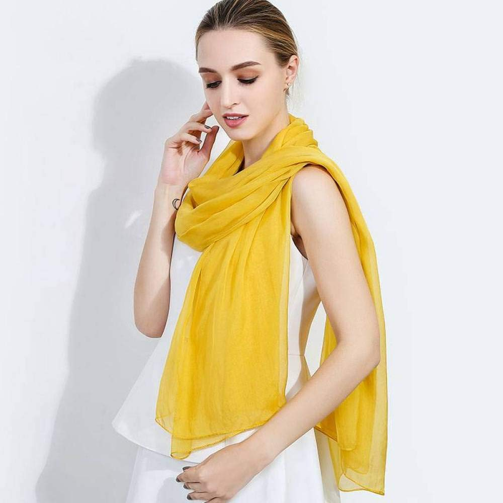 Ginger yellow Ladies Vintage Silk Scarves Silk Silk Shawl Summer Long Paragraph Pure color Sunscreen Shawl Wild Scarf Jiss