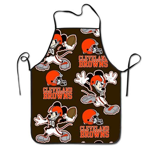 Marrytiny Kitchen Chef Apron Cleveland Browns Football Team Funny Cartoon Mouse Apron Unisex Kitchen Bib Cooking Women's Men's Baking Gardening
