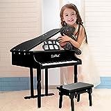 Goplus-Childs-30-key-Toy-Grand-Baby-Piano-w-Kids-Bench-Wood-Black-New