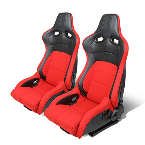 Pair of Universal Woven Cloth Reclinable Racing Seats w/ Sliders (Black/Red) (Cloth Racing Seat)