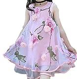Yayu Little Girl Sundress Dress Lovely Flower Print Irregular A-Line Mesh Dress Pink 8T