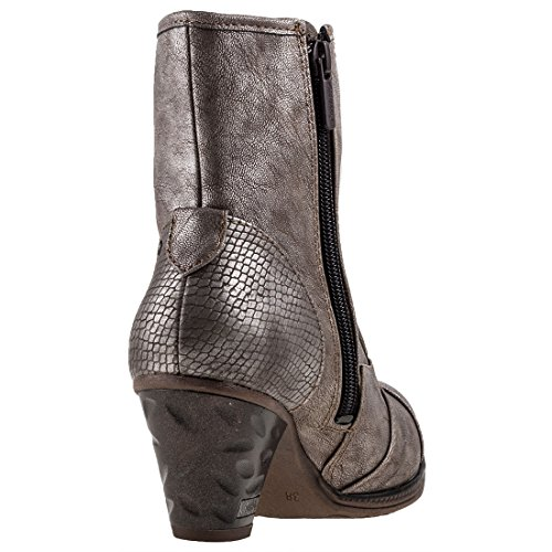 Mustang High Shoe Metallic Bottines Heel Titan Femmes rgrOFqHx