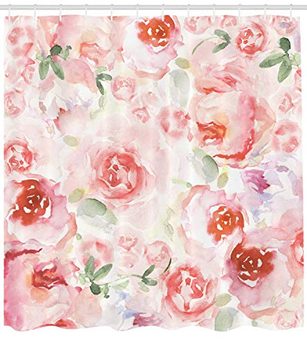 Ambesonne Watercolor Flower Decor Collection, Soft Colored Pale Faded Mix of Roses Vintage Style Romantic Dream Painting , Polyester Fabric Bathroom Shower Curtain Set with Hooks, Pink Green (Flowered Green Curtains)