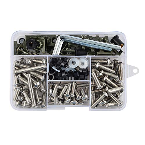 NICECNC Stainless Steel 177PCS Windscreen Fairing Bolts Kit Fastener Clips Screws for Motorcycle Sportbike Honda,Yamaha,Kawasaki Suzuki,Aprilia MV Agusta Triumph