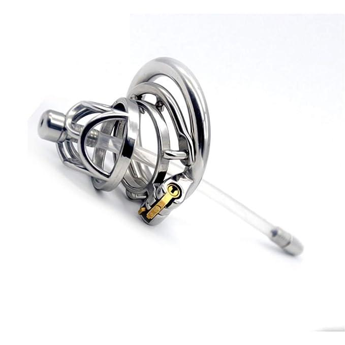 XUDONG La Cerradura de castidad de Acero Inoxidable de la castidad Cerradura de castidad Cerradura Dispositivo de catéter Suave catéter,45mm: Amazon.es: ...