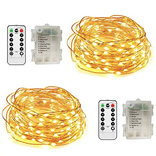 String Fairy Lights Battery Operated 2 Pack Christmas lights Remote Control 8 Modes Waterproof Starry 50 LED 16.4 FT Decorative Copper Wire lights for Patio, Garden, Parties, Wedding Warm White from Glary
