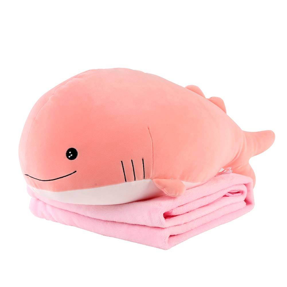 Molizhi Soft Whale Shark Stuffed Animal with Blanket, Big Hugging Plush Pillow Doll Fish Toy, Gifts for Girls, Friends, Kids, 27.2'' (Pink) by Molizhi