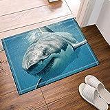 SRJ2018 Ocean Shower Curtain Shark Jaws Tusk Keenness Predation In Underwatar Non-Slip Doormat Floor Entryways Indoor Front Door Mat Kids Bath Mat 60X40CM Bathroom Accessories