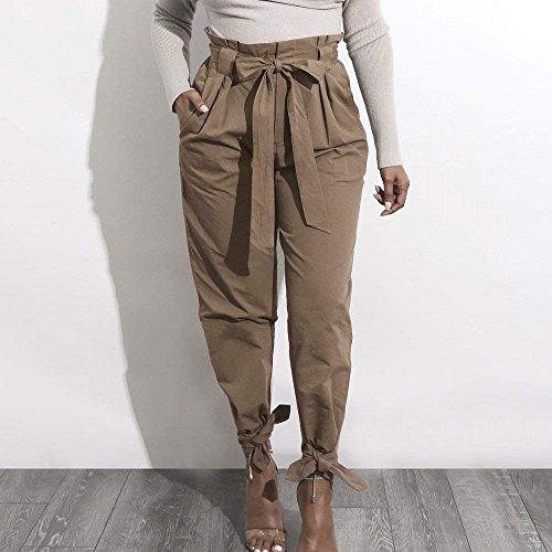Donna High Fashion Women Estivi Colori Tasche Donna Giovane Pants Grazioso Primaverile Sciolto Pantaloni Pantaloni Con Eleganti Waist Per Casuali Khaki Solidi Pantaloni Tempo Libero fdqtntwB