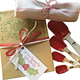 Farmhouse Gift Valentine Set Includes: Ceramic Mason Jar Measuring Spoons, Vintage Striped Tea Towel Packaged Perfectly