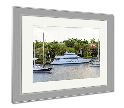 Ashley Framed Prints Fort Lauderdale Canals In Las Olas Boulevard Florida USA, Wall Art Home Decoration, Color, 26x30 (frame size), Silver Frame, - Olas Las Boulevard Florida