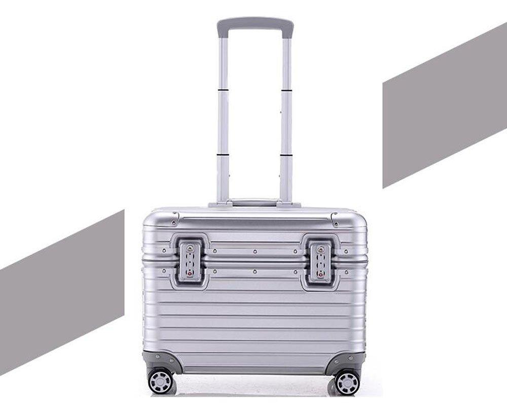 S-cas-028 17/20/22インチ スーツケース ビジネスケース 旅行バッグ トランク アルミ製 キャリーケース B078WNZ11H 17インチ|シルバー(マット) シルバー(マット) 17インチ