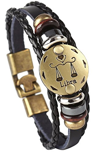 (Hamoery Punk Alloy Leather Bracelet for Men Constellation Braided Rope Bracelet Bangle Wristband(Libra))