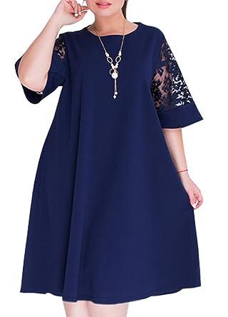 6559eb1ed6911 Romacci Fashion Women Plus Size Shift Dress Half Sleeves Lace Insert O Neck  A-Line Casual Dress  Amazon.co.uk  Clothing