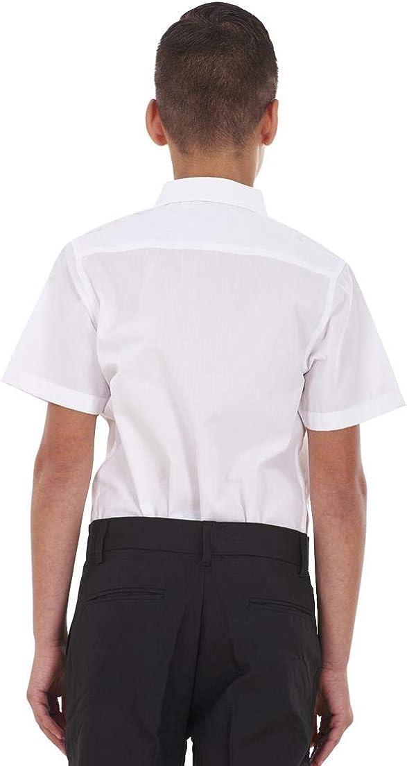 ChicWhisper Boys 2 Pack White Regular Fit Non Iron Short Sleeve School Shirt