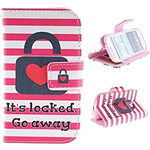 PEACH Heart Lock Design PU Leather Full Body Protective Case with Stand for Samsung Galaxy S3 Mini I8190 , Rose