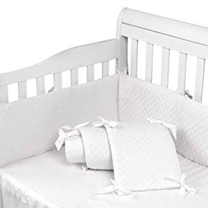 Baby Crib Bumper Pads for Standard Cribs Machine Washable Padded Crib Liner 100% Silky Soft Microfiber Polyester, 4 Pcs/White