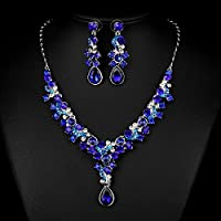 FAYBOX Glamorous Rhinestone Teardrop Necklace Earrings Bridal Wedding Jewelry Sets