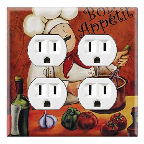 (Graphics Wallplates - Bon Appetite Fat Chef Kitchen Guy- Quadplex Outlet Wall Plate Cover)