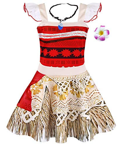 HenzWorld Dresses for Girls Princess Costumes Moana Necklace Flower Accessories Outfit Ruffle Sleeve 6-7 Years -
