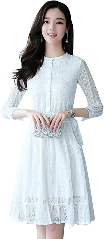 LINGYUANSALE Vestido de Camisa Blanca de Primavera y otoño, Falda Larga y Delgada de Encaje con Volantes Vestido de Fiesta de Las Mujeres (Color : Blanco, tamaño : Medium): Amazon.es: Deportes y