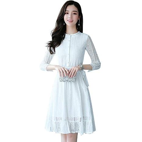 LINGYUANSALE Vestido de Camisa Blanca de Primavera y otoño, Falda ...