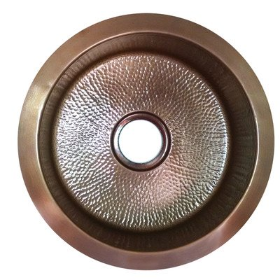 Nantucket Sinks RS18-LC 18 inch Hand Hammered copper Round Undermount bar Sink, Light copper (Round Copper Prep Sink)