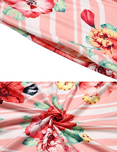 Waist Pocket Sleeve Floral Elastic Women's Casual Pink Stripe with 4 Dress Halife 3 nvwY4qnO