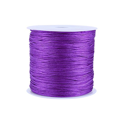 100M x 0.8mm Nylon Chinese Knot Cord Rattail Macrame Shamballa Thread String (Pruple)