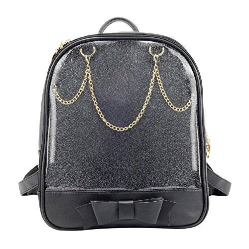 SteamedBun Ita Bag Candy Leather Backpack Bowknot Transparent Beach Girls School Bag Black]()