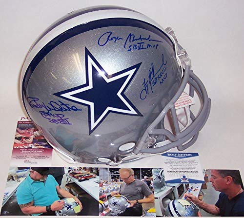Roger Staubach/Troy Aikman/Randy White - Autographed Official Full Size Riddell Authentic Proline Football Helmet - Dallas Cowboys - PSA/BAS