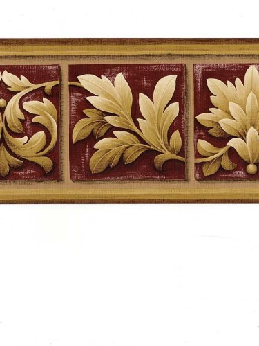Norwall Burgundy and Tan Scroll Leaf Wallpaper Border Pattern Number: NS76928L