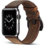 Watruer Compatible Apple Watch Band, 42mm 44mm Genuine Leather iwatch Strap Replacement Band with Stainless Metal Clasp for Apple Watch Series 4 & 3 & 2 & 1 Sport and Edition - Dark Brown