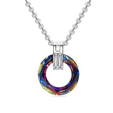 Longwu ❤Cristal Swarovski❤ Collier en Or Blanc 18 carats plaqué Cercle  Bague Pendentif Bijoux e3bef986108e