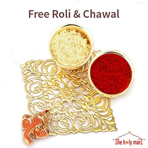 with Free Pen Set, Roli /& Rice The Holy Mart Kundan Rakhi Set for Brother