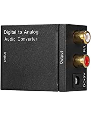 Digital to Analog Converter Adapter Digital Optical Coaxial Toslink to Analog Audio Signals with Optical Fiber Cable and USB Power Cable