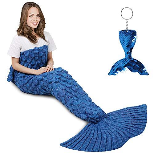 AmyHomie Mermaid Tail Blanket, Mermaid Blanket Adult Mermaid Tail Blanket, Crotchet Kids Mermaid Tail Blanket for Girls (ScaleBlue, Adults)