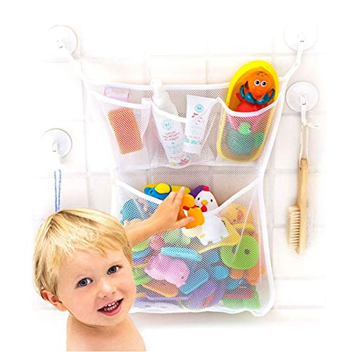 Longsing Bad Toy Bag Baby Bad Toy Organizer Mesh Baby Bad Toy Organizer Net Met 2 zuignappen opknoping op muur (wit)