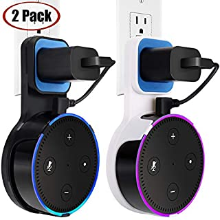 TOOVREN Outlet Echo Dot Wall Mount Stand Holder for Smart Home Speaker 2nd Generation Space-Saving Accessories - Short Charging Cable Included (2 Pack)
