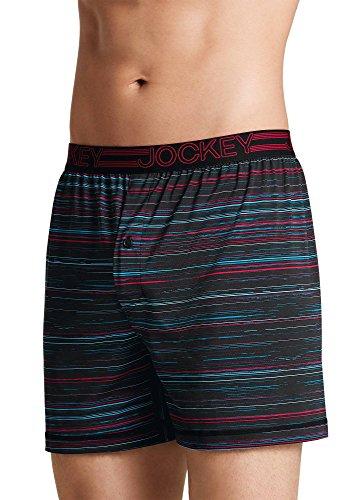 Jockey Men's Underwear Active Microfiber Boxer, Black Digi Stripe, ()