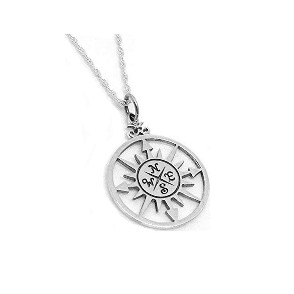 00b0d1397 Amazon.com: Unrealfind Compass Rose Sterling Silver Nautical Necklace Charm  Ocean Navigation Jewelry (16 Inches): Pendant Necklaces: Jewelry