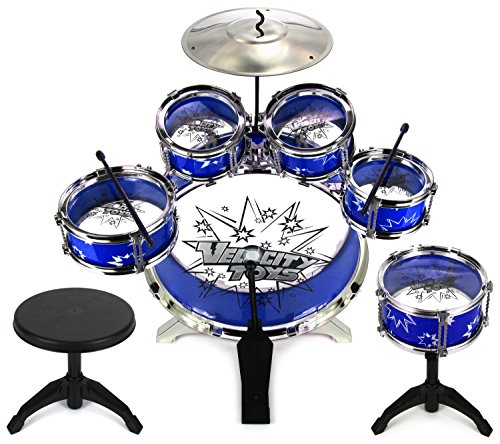Velocity Toys 11 Piece Children's Kid's Musical Instrument Drum Play Set w/ 6 Drums, Cymbal, Chair, Kick Pedal, Drumsticks (Blue) (Pedals Juvenile)
