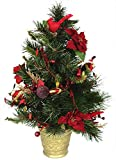 2' Potted Decorated Red Cardinal & Poinsettia Christmas Pine Tree